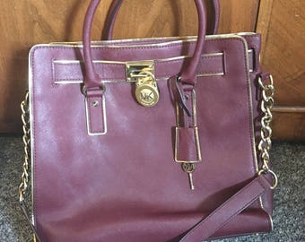 Michael Kors Hamilton Burgendy Gold Leather Bag
