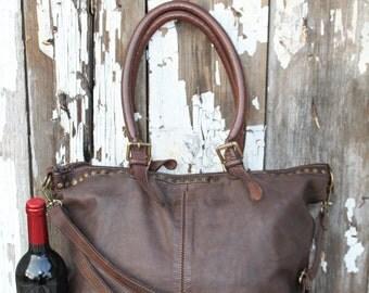 Dark Brown Vintage Inspired Studded Italian Leather Handbag