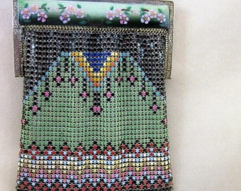 Gorgeous Whiting and Davis Mesh Purse with Enameled Frame - Book Piece