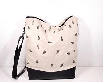 Raindrops tote bag, crossbody canvas bag, canvas and leather bag, slouchy messanger bag, big shoulder bag, clutch purse, white linen bag