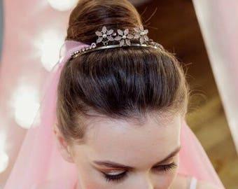 Vintage pink flower bridal tiara
