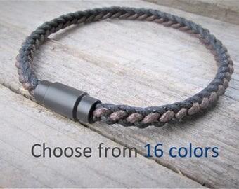 Men's Cotton Rope Bracelet Boyfriend Gift Mens Braided Bracelet Mens Vegan BraceletMens Magnetic Clasp Bracelet Husband Gift Gift for him