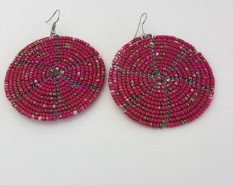 Fun beaded disk earrings