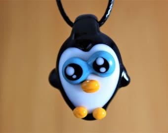 Penguin Necklace, Penguin Jewelry, Penguin Pendant, Glass Penguin, Animal Pendant, Penguin, Penguin Glass, Heady Glass Pendant, Heady Glass
