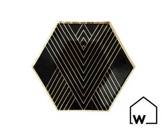 Black & Gold Hexagon Small Party Plates (Set of 8) | Wedding, Bridal Shower, Engagement, Bachelorette Party, Baby Shower, Birthday, Holiday