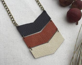 Leather chevron necklace - chevron jewelry - leather jewelry - genuine leather jewellery - geometric necklace - geometric jewelry