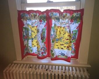 Pr of Missouri Cafe Curtains from Retro Flour Sack Dishtowels, Vintage Camper Curtains, Retro Kitchen Dceor, State Dishtowel Cafe Curtains
