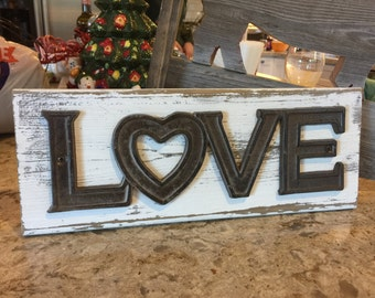 Iron Love sign, home decor, distressed and rustic styling
