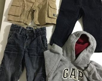 Vintage Baby Gap, boys clothes set, hoodie, jeans, shorts, size 12, 18, 24 months, denim, corduroy, fleece, kids clothing
