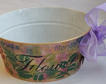 "Round Metal Tub Planter ""RENOIR"" from Springtime in Paris collection"