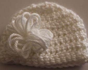 Delicate White crocheted preemie hat/beanie/cap