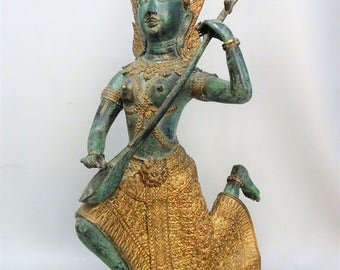 Bronze Thai temple guard statue sculpture Thailand  2nd half of 20th century boeddha figurine buddhism figurine  gift for woman gift for men