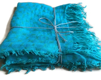 Ready to Ship, Bright Linen Scarf, Green and Blue Scarf, Autumn 2016 scarf, Autumn Gift, Natural Linen Scarf, Gift for Her