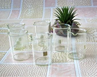 Set of 6 beakers 50mg Chemical glass Laboratory glassware Science equipment Apothecary beaker Pharmacy lab Pyrex beaker Industrial decor