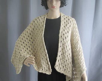 Crochet Cotton Regency-style Shawl with Brass Buttons