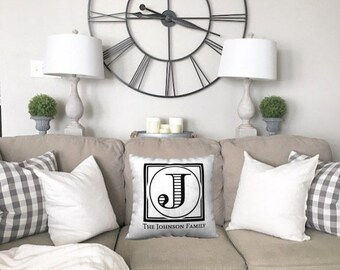 Family Pillow | Family Name Gifts | Personalized Family Pillow Cover | Housewarming Gift