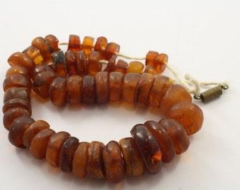 老琥珀 Antique Vintage Natural Baltic Amber Beads Necklace Tablet Disc 46,6 gram