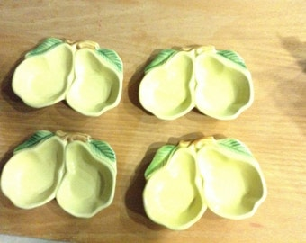 Pear dishes,  servers, or decor. California pottery 4 piece set