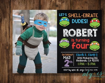 Ninja Turtle Invitation, Teenage Mutant Ninja Turtle Invitation,  Printable Invite