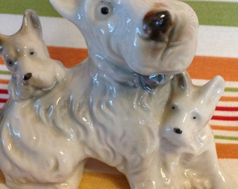 Vintage Ceramic Collectible Scottish Terrier and Puppies Figurine