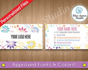 Floral Business Card Lula Roe Home Office Approved Digital Custom Printed Marketing Branding Printable LBC107