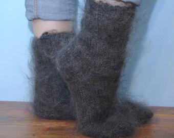 Socks HANDMADE Russian 100% goat down Cashmere Mohair angora Organic Warm  by D.Tolik