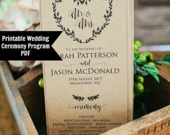 Wedding Ceremony Program, Printable Wedding Template, Order of Service, Instant Download, DIY ceremony program, Editable Program template