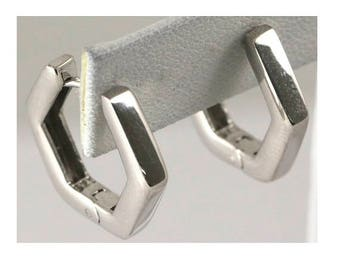 Rhodium Plated Sterling Silver Huggie Earring #OZE-50