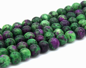 Ruby Zoisite Beads 8mm Red Greeen Gemstone Beads Ruby Zoisite Mala Beads Red and Green Mala Ruby Zoisite Jewelry Supplies