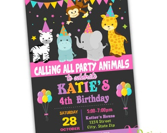 Party Animal Invitation, Birthday Invitation, Girl Birthday Invitation, Printable Invitation