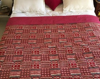Red summer blanket, bed cover, thin kantha quilt, KQ0203