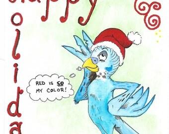 Sassy Parakeet Holiday Card Set