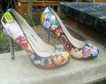 Custom womens Pokemon comic book shoes heels
