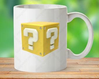Super Mario mug gift, classic game mug, mystery box mug, power up box mug, video game mug, gaming cup gift, Mario gift cup, Gamer Mug Icon