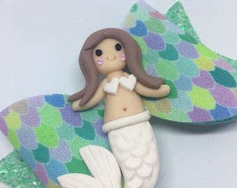 White mermaid scales large bow
