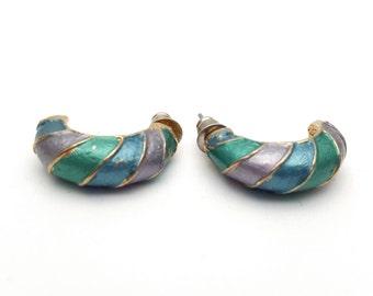 Turquoise and Lavender Painted on Medium Half Hoops Stud Earring Vintage Gold Tone Metal Signed ML Hoop Earrings
