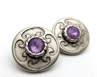 Clip On Silver Tone Plastic with Purple Faux Rhinestone Round Stud Earrings Vintage 80s Fashion Lightweight Simple