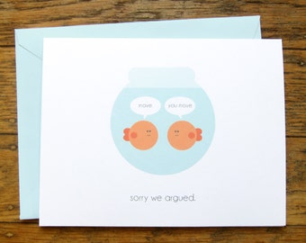 Sorry Card | INSTANT DOWNLOAD DIY | Printable | Friendship Card | Greeting Card | Funny Card | Fish Card | Apology Card | Digital pdf