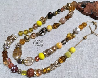 Bohemian Beaded Necklace with Brown Tear Drop Howlite Pendant Crystals Butterfly Agate Sunstone Gypsy Boho Jewelry Jewellery Yellow