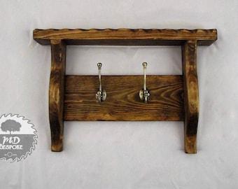 Wooden Coat Rack  -Towel Rack - Bathroom - Entrance Way - Hall - Hooks - Shelf - rustic - coat stand - bedroom - rustic - pine