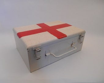 Vintage French Metal First Aid Box