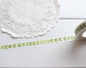 Leaf Washi Tape, Plants Nature Leaves Cute Tape, Thin Washi Tape, Skinny Washi Tape (TT-133)