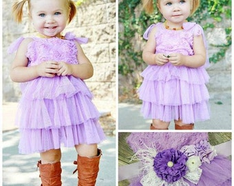 Girls Gorgeous Lavender Lace And Tulle Dress With Sash