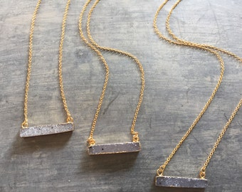 Druzy Bar 14K Gold Plated Natural Necklace/Gift For Her/Necklace/Classy Necklace/Simple Necklace/Layer Necklace/Yoga Necklace/Birthday Gift