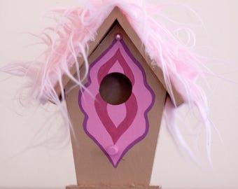 Furry Bird Box || Vagina Birdhouse || Pink Fuzz || Caramel
