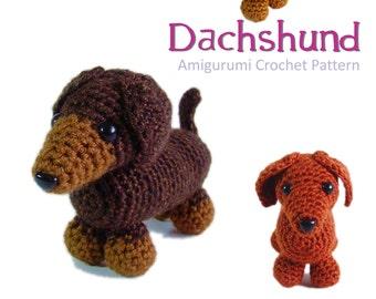 Dachshund amigurumi crochet pattern PDF