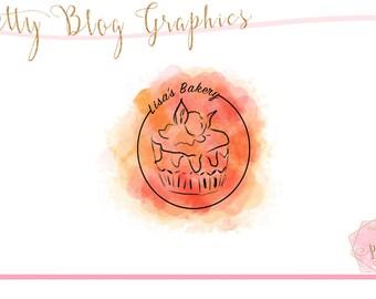 watercolor logo, premade logo design, bakery logo, blog header, premade logo, blog design, bakery logo design, logo for blog, blog logo