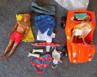 Malibu Barbie and KEN WITH BUGGY Orig. Lot 1960-70  vintage