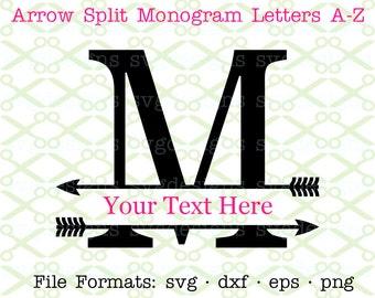 Arrow Split Letter Monogram SVG, Dxf, Eps, Png; Split Monogram Svg, Split Letter Arrow Monogram for Cricut & Silhouette, Digital Cut FIles