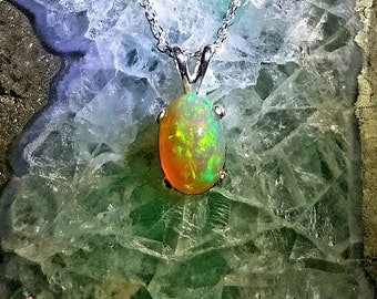 Opal necklace, Green and Orange opal Pendant, Sterling silver opal necklace. Welo Opal 2.06ct, Green and Orange chaff Pattern. Very bright!
